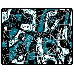 Blue, black and white abstract art Double Sided Fleece Blanket (Medium)