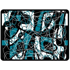 Blue, black and white abstract art Double Sided Fleece Blanket (Large)