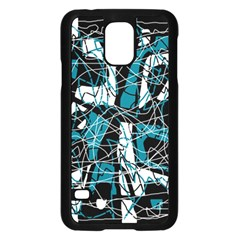Blue, black and white abstract art Samsung Galaxy S5 Case (Black)