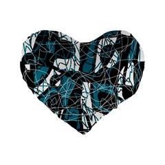 Blue, black and white abstract art Standard 16  Premium Flano Heart Shape Cushions