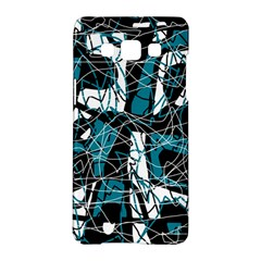 Blue, black and white abstract art Samsung Galaxy A5 Hardshell Case
