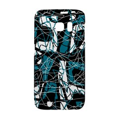 Blue, black and white abstract art Galaxy S6 Edge