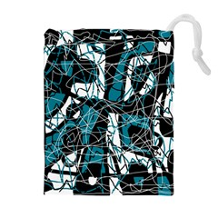 Blue, black and white abstract art Drawstring Pouches (Extra Large)