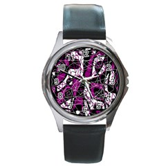 Purple, white, black abstract art Round Metal Watch