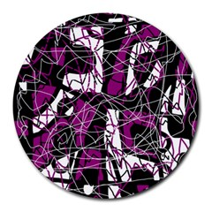Purple, white, black abstract art Round Mousepads