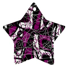 Purple, white, black abstract art Ornament (Star)