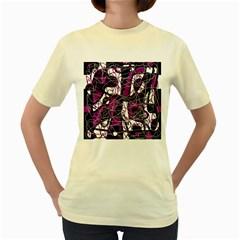 Purple, white, black abstract art Women s Yellow T-Shirt