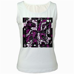 Purple, white, black abstract art Women s White Tank Top