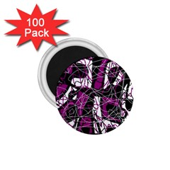 Purple, white, black abstract art 1.75  Magnets (100 pack)