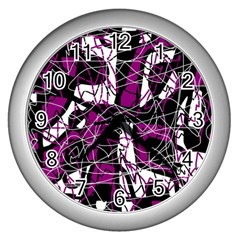 Purple, white, black abstract art Wall Clocks (Silver)