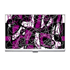 Purple, white, black abstract art Business Card Holders