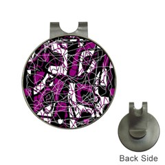 Purple, white, black abstract art Hat Clips with Golf Markers