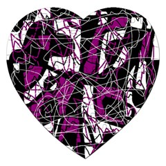 Purple, white, black abstract art Jigsaw Puzzle (Heart)