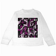 Purple, white, black abstract art Kids Long Sleeve T-Shirts