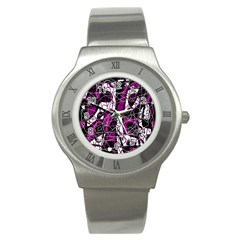 Purple, white, black abstract art Stainless Steel Watch