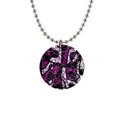 Purple, white, black abstract art Button Necklaces