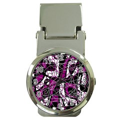 Purple, white, black abstract art Money Clip Watches