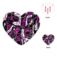 Purple, white, black abstract art Playing Cards (Heart)