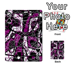 Purple, white, black abstract art Playing Cards 54 Designs