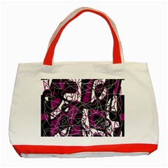 Purple, white, black abstract art Classic Tote Bag (Red)