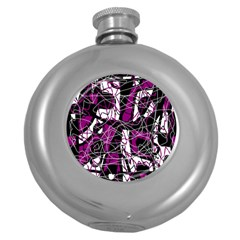 Purple, white, black abstract art Round Hip Flask (5 oz)