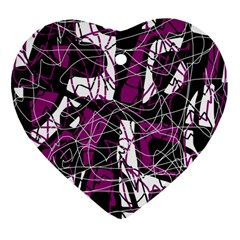 Purple, white, black abstract art Heart Ornament (2 Sides)