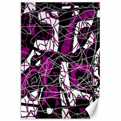 Purple, white, black abstract art Canvas 20  x 30