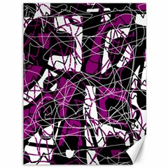 Purple, white, black abstract art Canvas 36  x 48