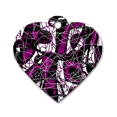 Purple, white, black abstract art Dog Tag Heart (One Side)
