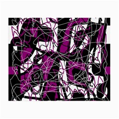 Purple, white, black abstract art Small Glasses Cloth (2-Side)