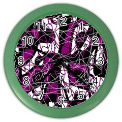 Purple, white, black abstract art Color Wall Clocks