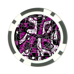 Purple, white, black abstract art Poker Chip Card Guards