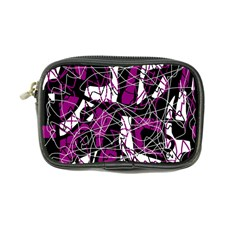 Purple, white, black abstract art Coin Purse
