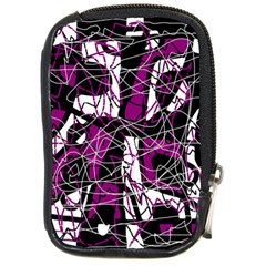 Purple, white, black abstract art Compact Camera Cases
