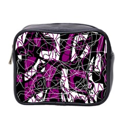 Purple, white, black abstract art Mini Toiletries Bag 2-Side