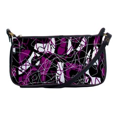 Purple, white, black abstract art Shoulder Clutch Bags
