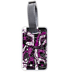 Purple, white, black abstract art Luggage Tags (Two Sides)