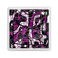 Purple, white, black abstract art Memory Card Reader (Square)