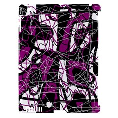 Purple, white, black abstract art Apple iPad 3/4 Hardshell Case (Compatible with Smart Cover)