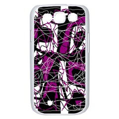 Purple, white, black abstract art Samsung Galaxy S III Case (White)