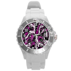 Purple, white, black abstract art Round Plastic Sport Watch (L)