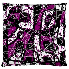 Purple, white, black abstract art Large Cushion Case (Two Sides)