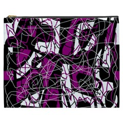 Purple, white, black abstract art Cosmetic Bag (XXXL)