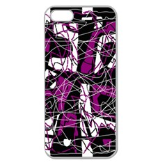Purple, white, black abstract art Apple Seamless iPhone 5 Case (Clear)