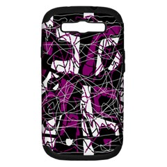 Purple, white, black abstract art Samsung Galaxy S III Hardshell Case (PC+Silicone)
