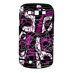 Purple, white, black abstract art Samsung Galaxy S III Classic Hardshell Case (PC+Silicone)