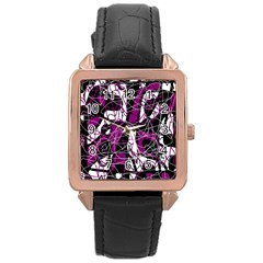 Purple, white, black abstract art Rose Gold Leather Watch