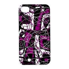 Purple, white, black abstract art Apple iPhone 4/4S Hardshell Case with Stand