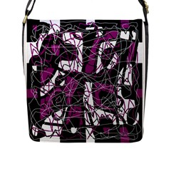 Purple, white, black abstract art Flap Messenger Bag (L)