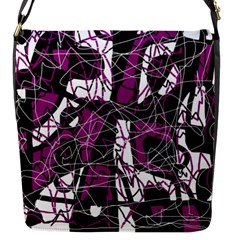 Purple, white, black abstract art Flap Messenger Bag (S)